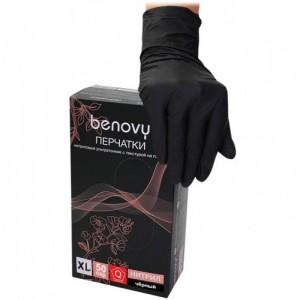 Черные нитриловые перчатки Benovy