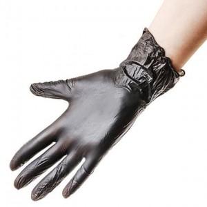 Черные виниловые перчатки