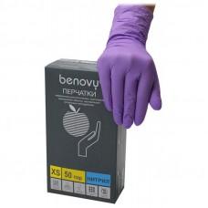Сиреневые нитриловые перчатки Benovy